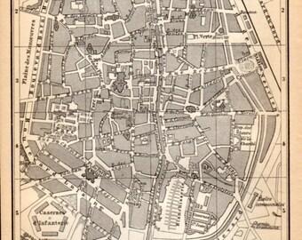 1897 Tournai, Belgium, Antique Map, Vintage Lithograph, Doornik, België, Hainaut, Belgique, Wallonia, Wallonie, City Plan
