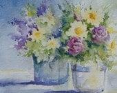 "Watercolor Original - Flowers, Daisies, Lilacs, Roses,""Double Bouquet"" Still Life Floral"