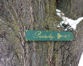 Pemberley Wooden Directional Sign - Made to Order