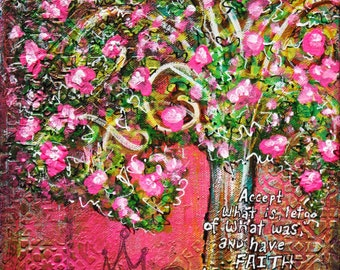 Original Mixed Media Tree Art Canvas - Inspirational Wall Decor - Flowering Tree Artwork - Tree Art - Whimsical Tree Art - Inspirational Art