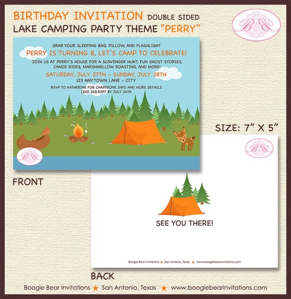 Camping Theme Invitations: Lake Camping Birthday Party Invitation Forest Swimming