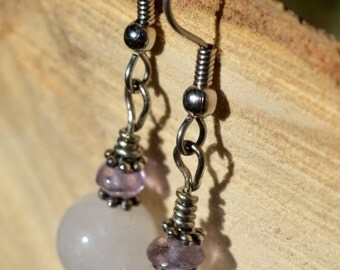 Rose Quartz Amethyst Gemstone Earrings, Amethyst Gemstone Earrings, Gemstone Jewelry, Bohemian Earrings, Gemstone Earrings