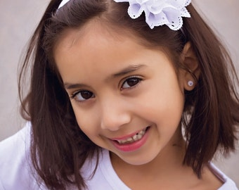 Baby Headband White Eyelet Chiffon Flower Large - Baby Shower Gift or Photo Prop - Newborn Infant Toddler Girl Adult Cake Smash