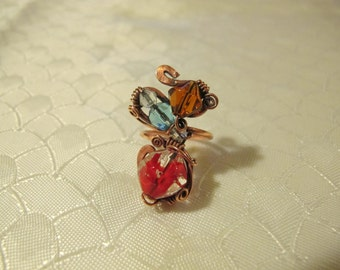 Light Blue Red and Amber Ring. Handmade Ring set with Colorful Glass Beads. Copper Wire Wrapped Ring. Spiral Wiring . Unique.
