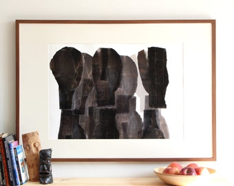 Persons, Large Abstract Black and White Modern Art Composition, Giclee Print Poster, 20 x 27 +