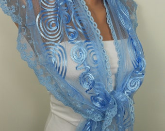 Valentines Gift Scarf Lace Scarf Blue Scarf Shawl Blue Wedding Scarf Women Spring Summer Fashion Accessory Christmas Valentines Day Mothers