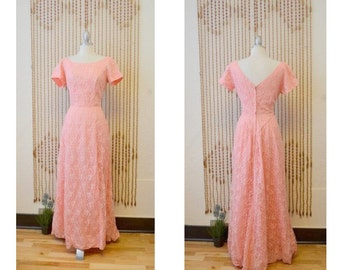 1950s Vintage Pink Lace Floor Length Evening Gown