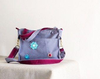 lilac faux suede bag with flowers ,ooak