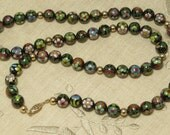 Vintage Asian Chinese 28 inch cloisonne inlay multi color and 14k gold filled bead beaded necklace