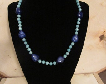 Amazonite Stone Knotted Necklace with Toggle Clasp