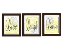 Live Laugh Love Wall Art, Modern Flourish Wall Art, Yellow Gray Decor, Living Room Wall Art, Home Decor, Dining Room Wall Art