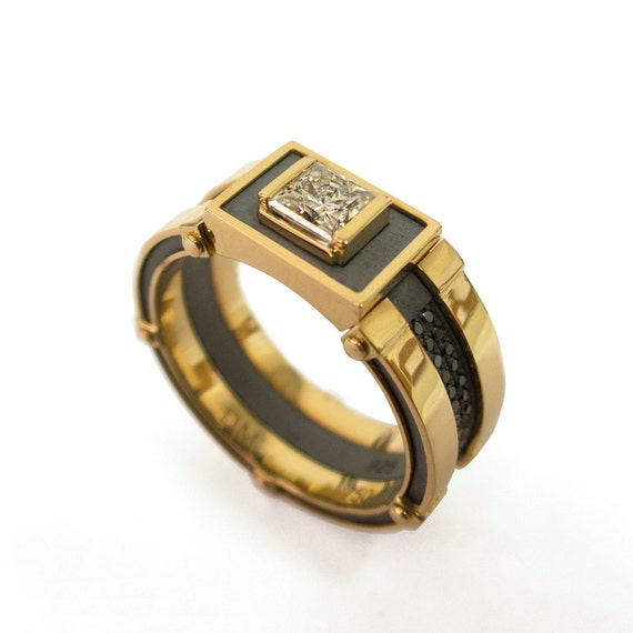 signet ring s 18k gold and band by