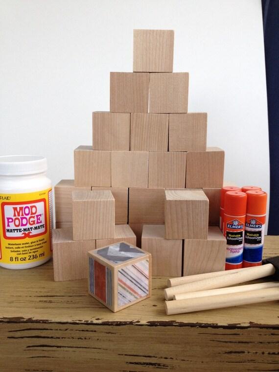 Gender neutral diy wood baby blocks baby shower craft for Child craft wooden blocks