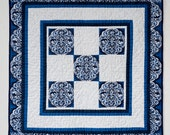 Delft Treasure - miniature blue and white doll quilt, wall hanging, American Girl doll quilt, or table topper