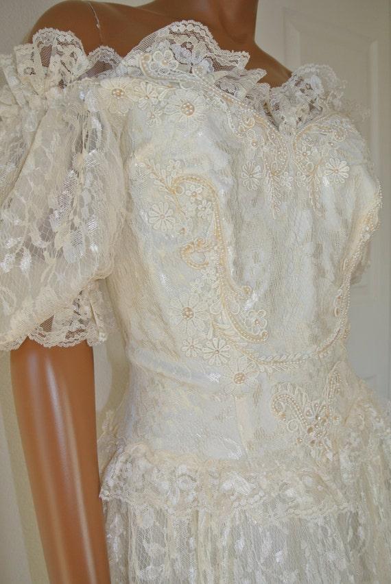 1980s wedding dress jc penny mid calf lace boho renaissance for Jc penny wedding dress