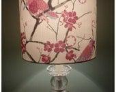 Stunning Lampshade Handmade Using Designer Liberty Of London Pink 'Bird Song' Tana Lawn Fabric ~ Lamp ~ Shade
