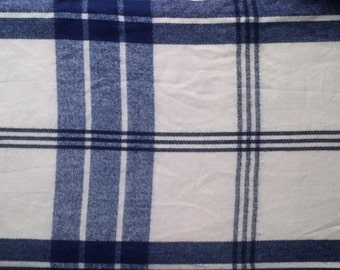 Navy Blue & White Plaid Woven Acrylic Throw Blanket