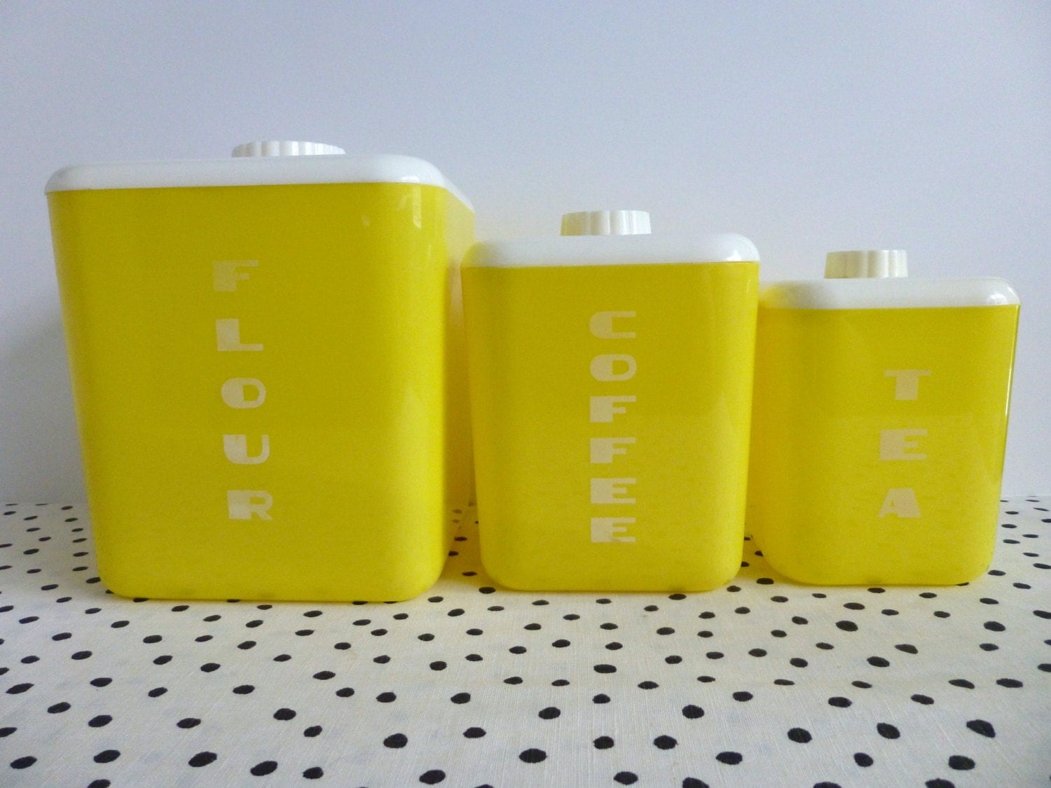 vintage lustroware canister set yellow lustroware canisters