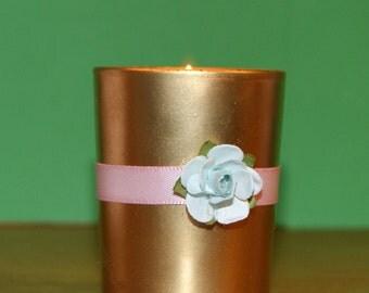 Pastel Wedding / Mint Wedding / Wedding Votive Candle Holder / English Garden Wedding / Gold, Mint Green and Pink Wedding Decoration / 6