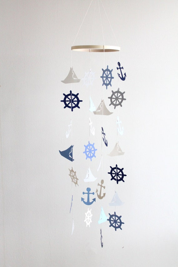 Sailboat Mobile Nautical Sailing Ocean Navy Ship Boat Blue Grey Americana beach baby boy Crib nursery