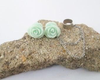 Mint flower ear cuff wrap