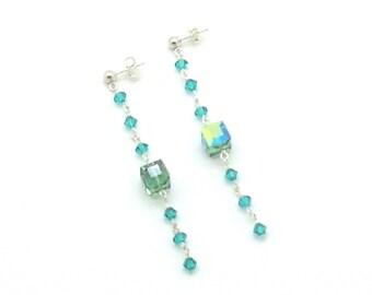 Teal Elegance, Swarovski Crystals, Teal, Green, Sterling Silver, Post Earrings, Earrings, Gift Idea, Dangle Earrings
