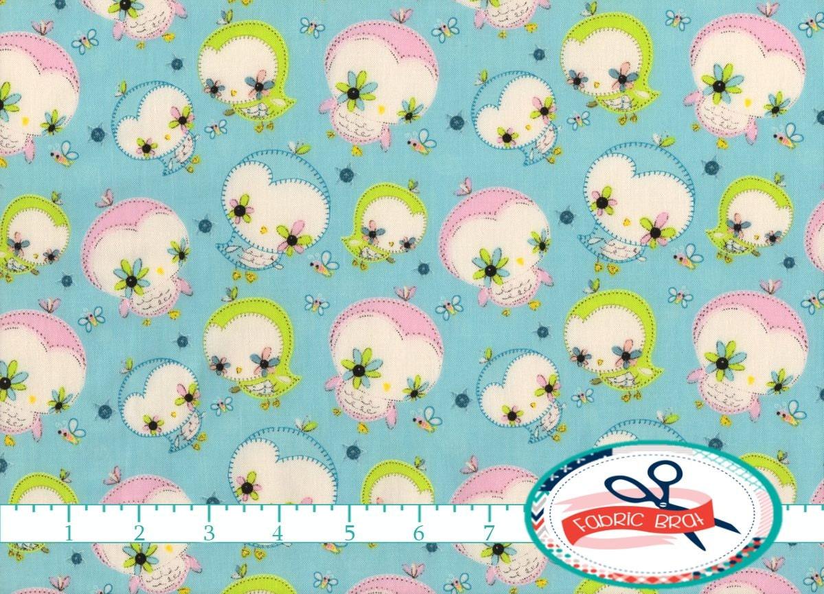 Blue baby bird fabric by the yard fat quarter nursery fabric for Baby fabric by the yard