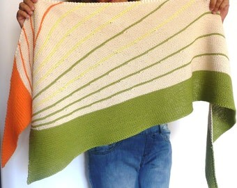 orange-lime-lemon cotton knitted shawl