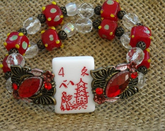 Red Mahjong Bracelet - Flower Mahjong - Oriental Jewelry - Mahjong Jewelry - Mahjong Gift - Mahjong Bracelet - Gift Idea