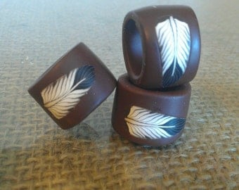 Boho Brown Feather Dread Bead for Extra Large Locks