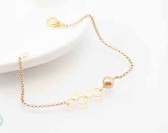 Circle bracelet, gold bracelet, pearl bracelet, charm bracelet, gold chain bracelet, cute bracelet, friendship bracelet, gold chain