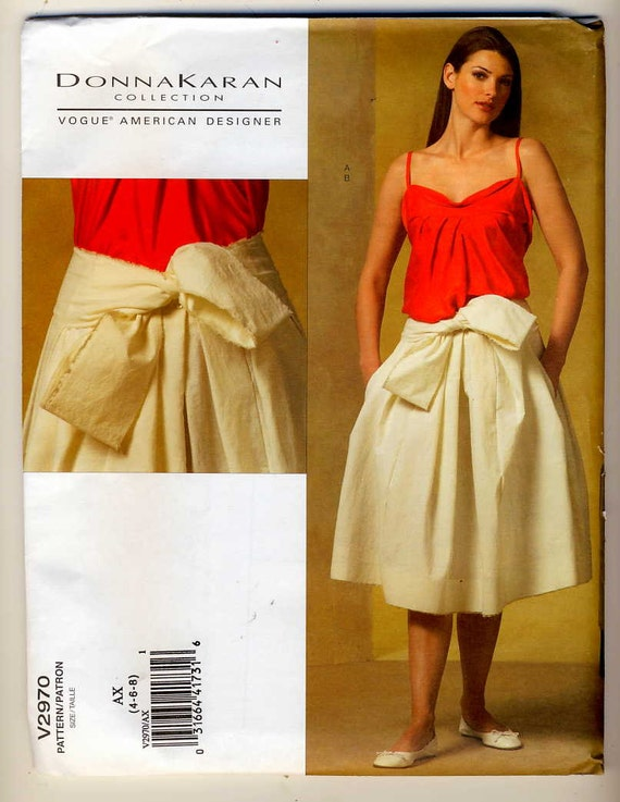 Vogue Designer 2970 Misses Very Loose-Fitting Top and Pleated Skirt sewing pattern sizes 4-6-8 brand new Donna Karan DKNY