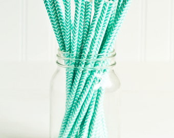 Paper Straws in Turquoise & White Chevron - Set of 25 - Aqua Spring Cute Fun Pretty Wedding Birthday Party Baby Shower Accessories Decor