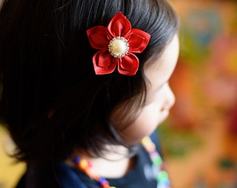 red ribbon flower hair clip - you choose color flower hair bow 105