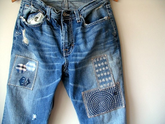 Upcycled Denim Patches Hand Embroidered Sashiko Patches