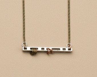 "Silver bar chain necklace, geometric minimalist necklace, silver stick choker, antique brass chain, delicate stick necklace, 16"" 18"" 20"""