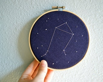 Libra Constellation Embroidery Hoop Art - Zodiac Star Sign, Astrology Wall Hanging, Hand Embroidered Libra Gift, Starry Sky