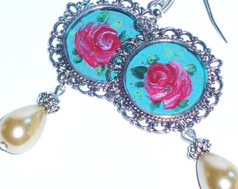 Silver Turquoise Rose Earrings Hand Painted Romantic Victorian Jewelry FREE SHIPPING