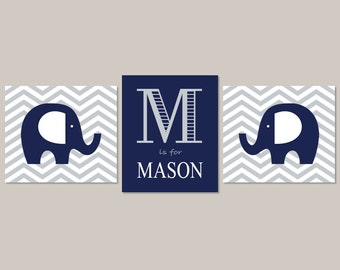 Elephant Nursery Decor Elephant Prints Boy Nursery Decor Navy Gray Nursery Chevron Monogram Initial Baby Animal Set of 3 Prints Or Canvas