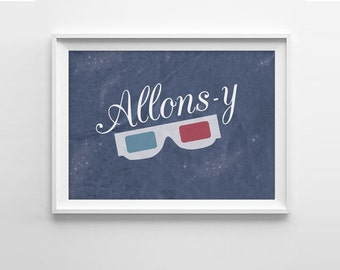 Doctor Who Allons-y Quote Art Print - Tenth Doctor