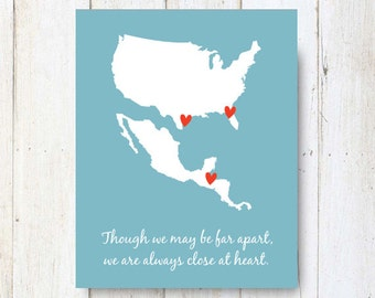 Personalized Us And Central America Long Distance Map Custom Home Is Wherever Im With You