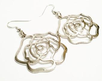 Rose Pendant Hoop Earrings / Silver Tone Hoop Earrings Rose / Silver Rose Pendant