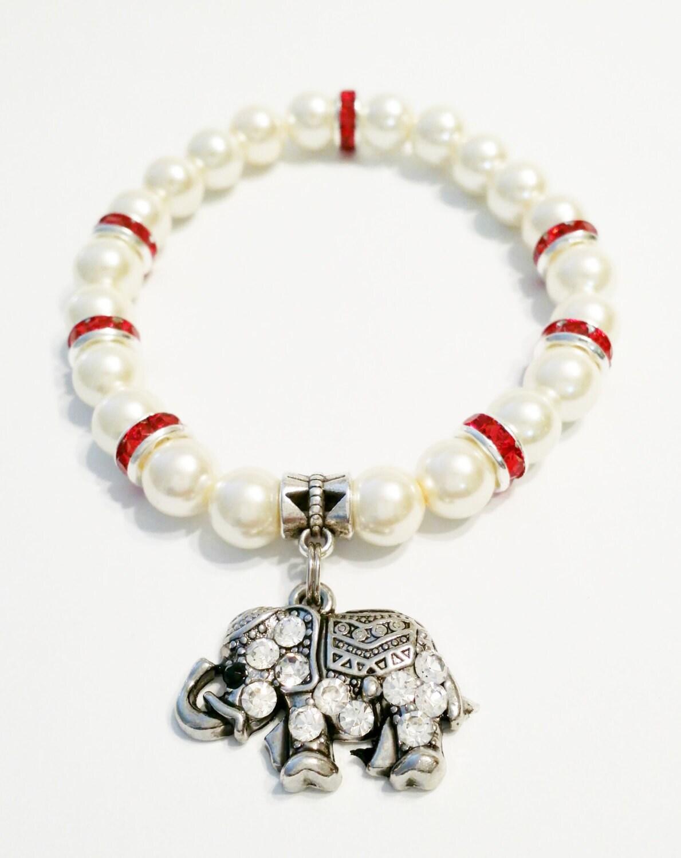 elephant bracelet rhinestone elephant bracelet ivory pearl