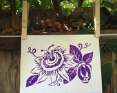 "Passion Flower Hand Printed Card ; 5"" x 7"""