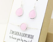 Blush Pink / Silver Teardrop Earring and Circle Bracelet Set - Bridesmaid Gift Set - Blush Pink Bridesmaid Jewelry Set - EBB1