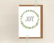 JOY . christmas greeting card . art . xmas holiday wreath . australia wandarrah etsyau