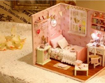 1 24 miniature dollhouse diy kit paris coffee and cake shop - Adorable dollhouse bookshelves kids to decorate the room ...