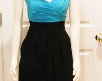 Teen Dress Strapless Dress Party Dress Womens Dress Ladies Dress Date Night Turquoise Dress Little Black Dress Junior Dress Vintage Clothing