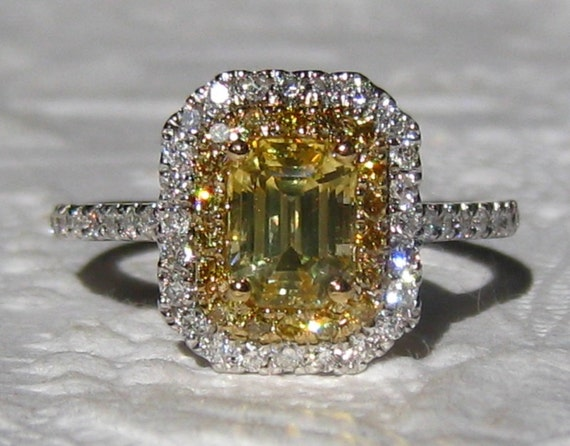 Canary Yellow Ceylon Sapphire Diamond Halo Engagement Ring