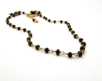 Black gemstone necklace, black spinel necklace, rosary style necklace, gold vermeil black necklace, ebony black necklace, bohemian jewelry